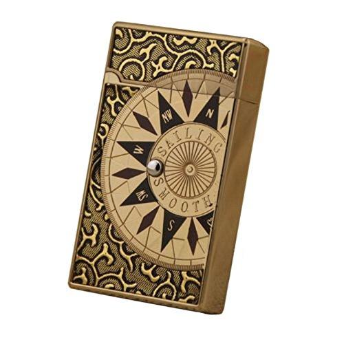 (Compass Designed Premium Lighter Push Button Electronic Touch Sensor Butane Gas Refillable Windproof Cigar Cigarette Lighter - Light Gold)
