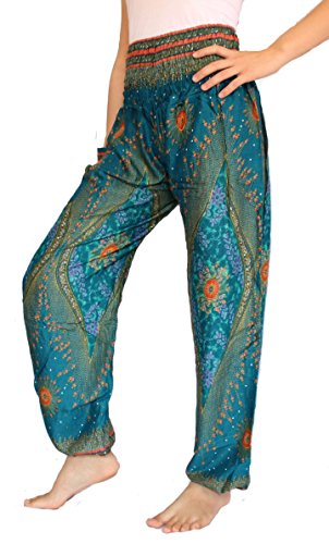 Banjamath Women's Smocked Waist Harem Hippie Boho Yoga Palazzo Casual Pants (S, Peacock Ocean Blue)