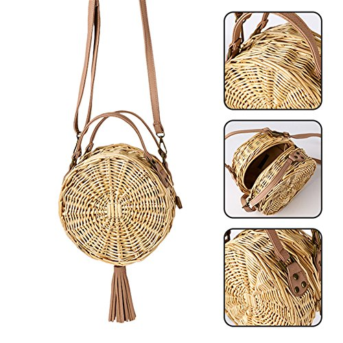 Bag Vacation Handwoven Cross Womens Summer shoulder Beach 100 Single Bag Bag for Strap Leather Premium Small Handbag body Fashion Designer Round Leiyini body Cross Straw Sand 8OUwUEq