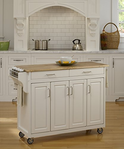 Home Styles 9200-1021 Create-a-Cart 9200 Series Cabinet Kitchen Cart with Wood Top, White (Butcher Block Top Kitchen Cart)