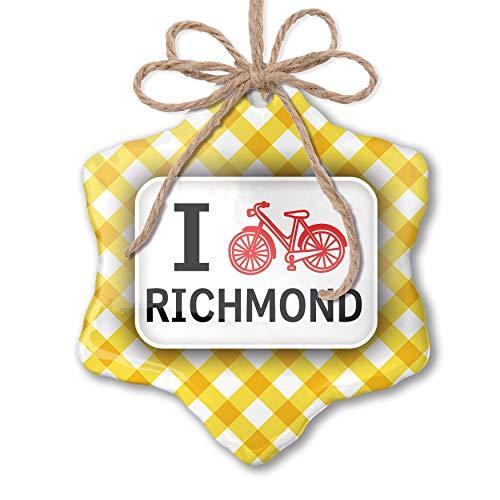 NEONBLOND Christmas Ornament I Love Cycling City Richmond Yellow Plaid