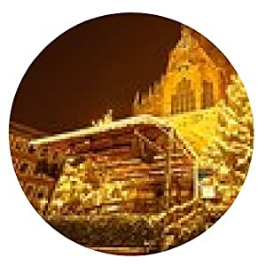 alfombrilla de ratón Iglesia Sebald con Mercado de Navidad en Nuremberg - ronda - 20cm