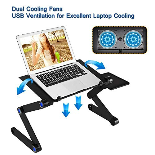 (RAINBEAN Laptop Stand with 2 CPU Cooling USB Fans for Bed,Cozy Aluminum Vented Lap Workstation Desk with Mouse Pad,Foldable Book Reading Stand Notebook Tablet Holder on Sofa,Adjustable Bed Table Tray)