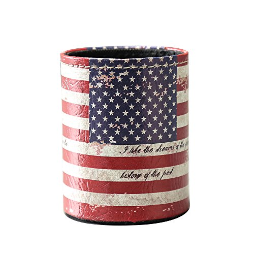 LINKWELL 1PC Antique USA American National Flag PU leather Pencil Pen Holder Desk Organizer PH09