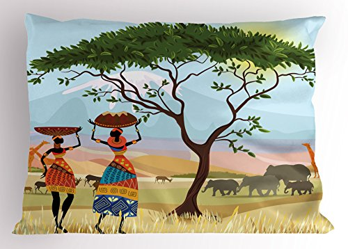 Lunarable African Pillow Sham, Ethno Women in Mountain Range Landscape with Giraffe and Elephant Boho Illustration, Decorative Standard King Size Printed Pillowcase, 36 X 20 Inches, Multi