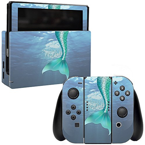 (MightySkins Skin for Nintendo Switch - Im Really A Mermaid | Protective, Durable, and Unique Vinyl Decal wrap Cover | Easy to Apply, Remove, and Change Styles | Made in The USA)