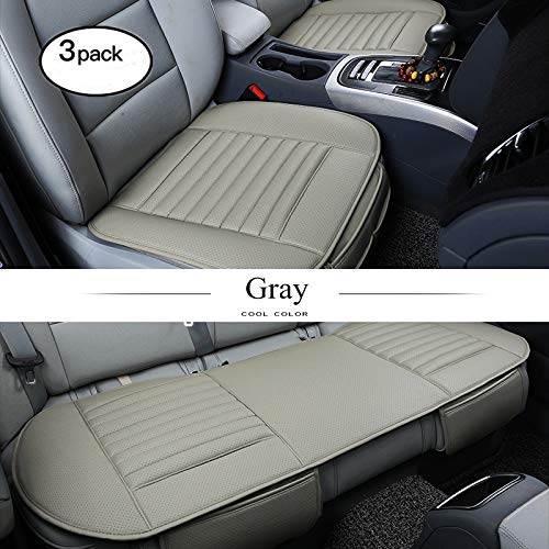 2 Packung Vordersitzbezug HCMAX Vier Jahreszeiten Atmungsaktiv Car Interior Sitzkissen Abdeckung Pad Matte PU-Leder Bambus-Kohle