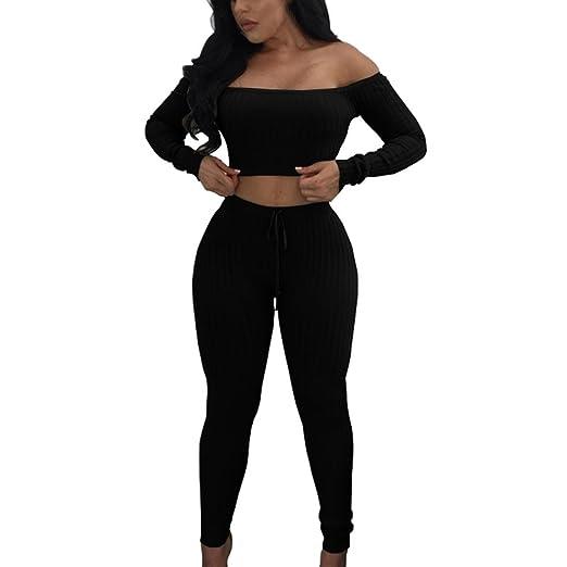 f758cdfc3b7 Hot Sale! Women Sexy 2 Pieces Bodycon Jumpsuit Romper Off Shoulder Crop Top  + High