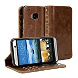 HTC One M9 Case, GMYLE Book Case Vintage (With TPU Case Cover) for HTC One M9 - Brown PU Leather Magnetic Book style Flip Slim Fit Case Cover (Not Fit For HTC One M9 Plus)