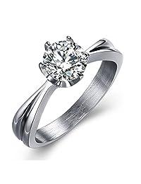 PNBB Titanium Steel Women's 7 mm Cubic Zirconia Eternity Engagement Wedding Ring