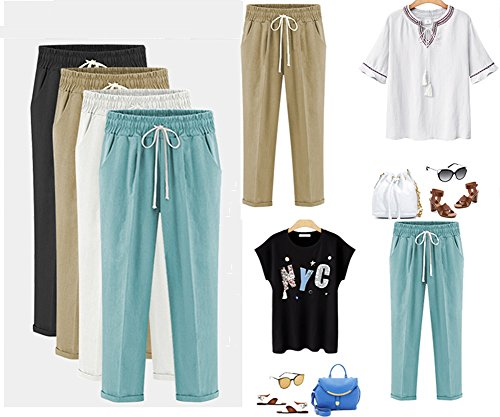 XinDao Women's Elastic Waist Casual Relaxed Fit Capris Pants Cotton Linen Cropped Pants Drawstring Agate Green US XL/Asia 5XL by XinDao (Image #4)