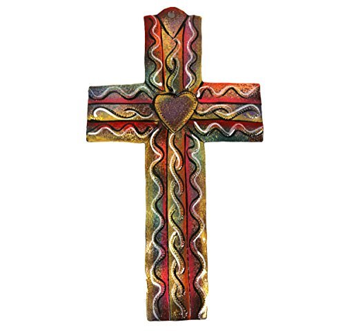 Fair Trade Colored Metal Cross - Medium - Hand Made From Recycled Metal Drums -