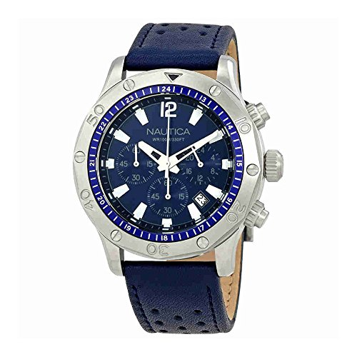 Nautica Men's 'NST 21' Quartz Stainless Steel and Leather Casual Watch, Color:Blue (Model: NAD16547G)