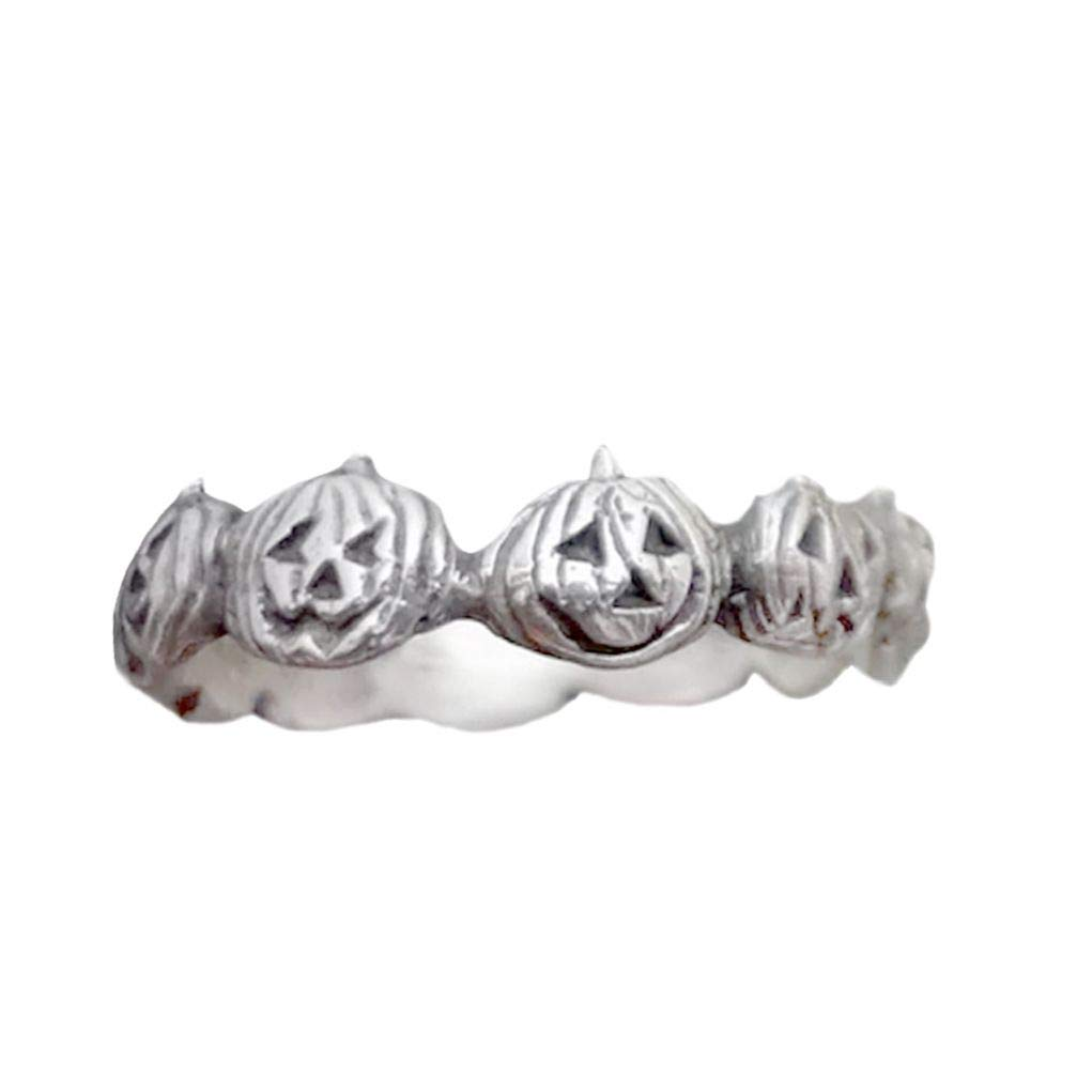 Vintage Pumpkin Halloween Finger Ring Women Men Party Jewelry Accessory Gift - Antique Silver US 7