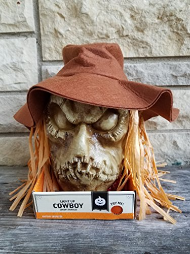Talking Pumpkin (11 Inch Spooky Halloween Talking Light Up Cowboy Scarecrow)