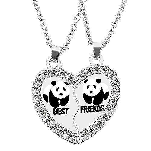 MJartoria Split Valentine Heart Rhinestone Panda Best Friends Engraved Pendant Friendship Necklace Set of 2