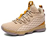 JiYe Men's Fashion Basketball Shoes Women's Breathable Flyknit Sneakers,Gold,41EU=8.5US-Men/9.5US-Women
