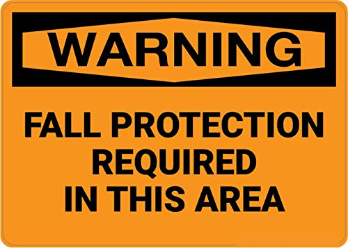 Safety Sign Wall Decal Vinyl Warning: Fall Protection Required Area Waterproof for Indoor & Outdoor Use 10