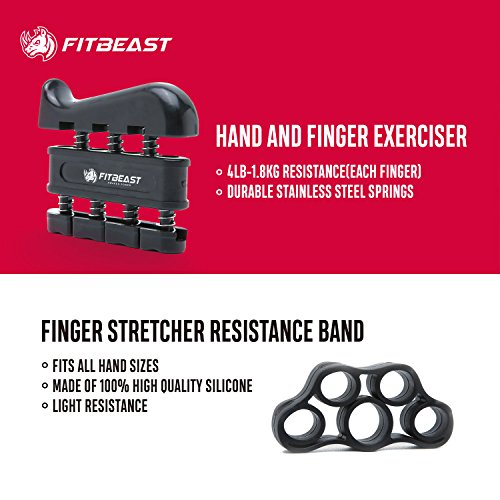 Hand Grip Strengthener Workout Kit (5 Pack) FitBeast Forearm Grip Adjustable Resistance Hand Gripper, Finger Exerciser, Finger Stretcher, Grip Ring & Stress Relief Grip Ball for Athletes and Musicians by FitBeast (Image #2)