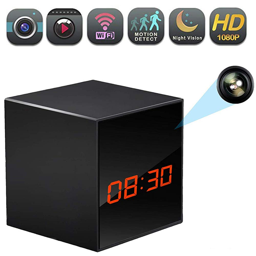 WiFi Hidden Clock Camera, Wireless Nanny Spy Cam with Alarm Clock, Night Vision, Motion Detection, App Control & Remote Viewing for Home/Office Security by LIZVIE