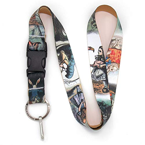 Buttonsmith Alice in Wonderland Premium Lanyard with Buckle and Flat Ring - Made in The USA ()