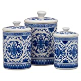 blue and white kitchen 10 Strawberry Street CAN-Chino-B Chinoiserie Kitchen Canister Set, Set of 3, Blue/White