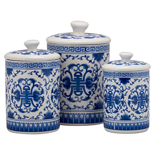 10 Strawberry Street CAN-Chino-B Chinoiserie Kitchen Canister Set, Set of 3, Blue/White