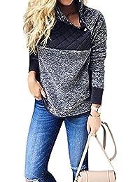 Women's Stand Collar Oblique Buttons Casual Long Sleeves Splice Fleece Pullover