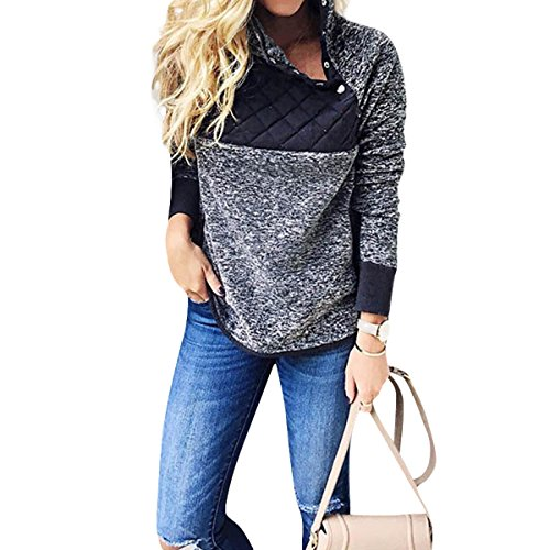 Fleece Button (Riojay Women's Stand Collar Oblique Buttons Casual Long Sleeves Splice Fleece Pullover Size L (Blue))