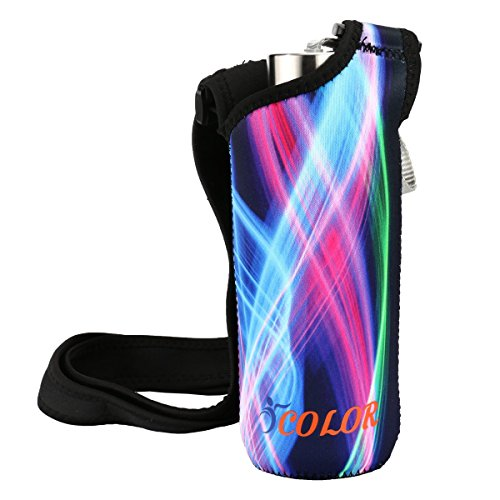 ICOLOR Water Bottle Carrier Neoprene Bottle Holder w/Adjustable Shoulder Strap Sling Insulated Sports Sleeve Bag Cover,for Stainless Steel & Plastic Bottle w/The Diameter Less Than 3 inch