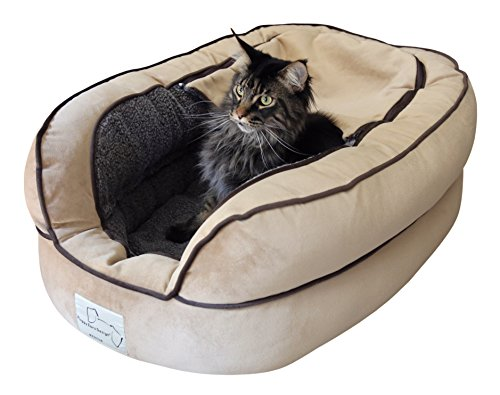 "Floppy Ears Design Microvelvet and Fleece Hide Out Bed, Medium, Tan, 36"" x 26"", for dogs up to 30 lbs."