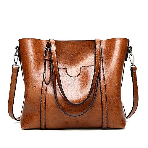 Mynos Women Retro Top Handle Satchel Handbags Shoulder Bag Occident Style Tote Purse (Khaki)