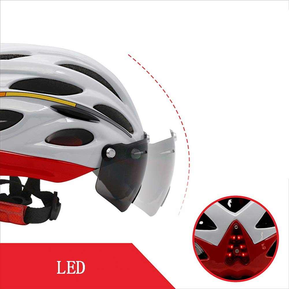 GLEI-TK Fahrradhelm Detachable Eye Shield Brillen (Can Over The Glasses),3 Modes Rear Safety LED-Licht