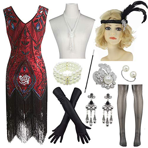 Plus Size Women's 1920s Flapper Fringe Beaded Gatsby Dress w/Accessories Set (Large, Red) -