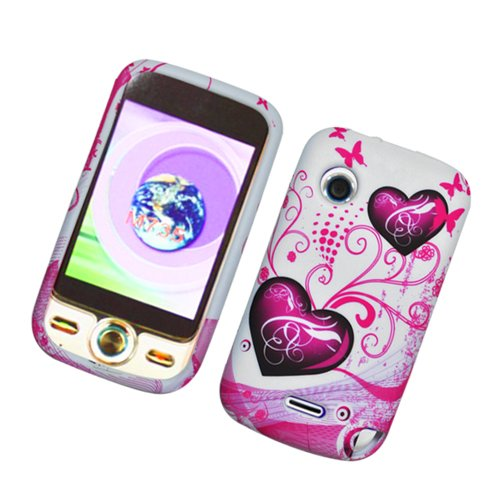 Purple Hearts with Pink Butterfly Soft Silicone Skin Gel Cover Case for Huawei M735 Metro PCS + Microfiber Bag