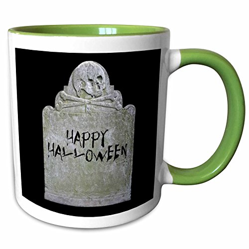 3dRose Xander holiday quotes - Happy Halloween picture of tombstone with black lettering on it - 15oz Two-Tone Green Mug (mug_201933_12) ()
