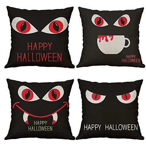 Happy Halloween Raven Cow Pumpkin Smiley Cotton Linen Decorative Throw Pillow Case Cushion Cover Pillow case 18