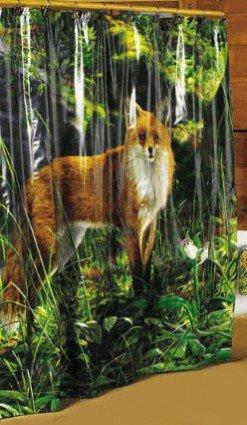 Creative Bath FOX Morning Light lodge nature SHOWER CURTAIN bathroom home decor