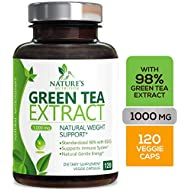 Green Tea Extract 98% Standardized EGCG Weight Loss 1000mg - Boost Metabolism for Healthy Heart - Antioxidants & Polyphenols - Gentle Caffeine, Fat Burner Pills, Made in USA - 120 Capsules