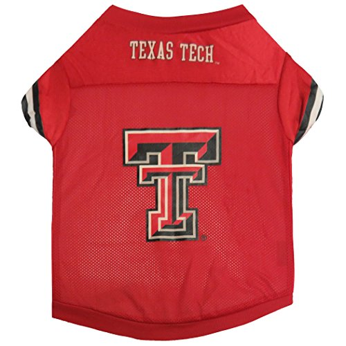 Raider Football Costume - Sporty K9 Collegiate Texas Tech Red Raiders Football Dog Jersey, XX-Small