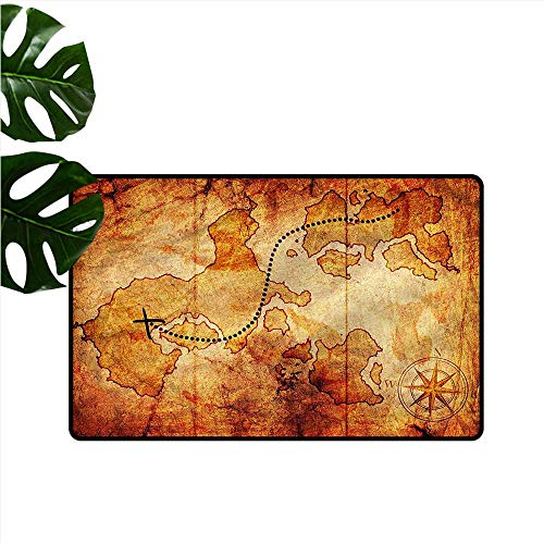 (HOMEDD Pet Doormat,Island Map Treasure Map X Mark Spot,Anti-Slip Doormat Footpad Machine Washable,35