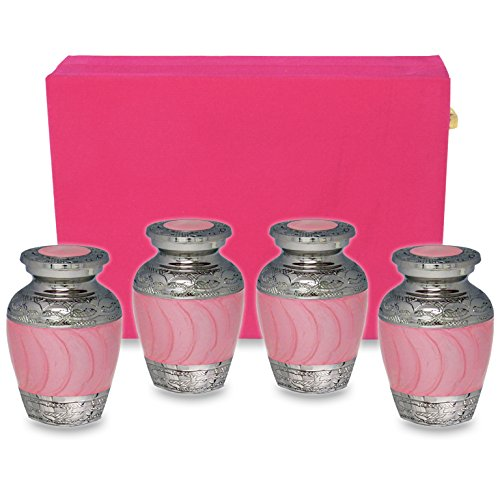Hugs and Kisses Pink Mini Keepsake Urns For Human Ashes -Set of 4 Sharing Urns- Beautiful Small Rememberance Urns for a Lost Daughter, Child Or Baby Girl To Share Amongst Family - w Velvet (Brass Kiss)