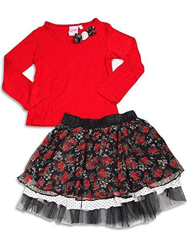 Lipstik Skirt Girls - Lipstik - Little Girls' Long Sleeve Skirt Set, Red, Black 29710-6X