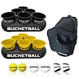 BucketBall - Team Color Edition - Party Pack (Black/Yellow): Original Yard Pong Game: Best Camping, Beach, Lawn, Outdoor, Family, Adult, Tailgate Game