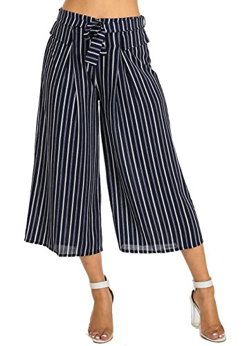 Womens High Waisted Wide Leg Black Striped Culottes Gaucho Cropped Pants 40372Y (Pants Cropped Striped)