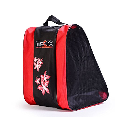 SHENGXIA Inline Roller Skates Carrying Shoulder Bag Ice Skating Shoes Bag Red