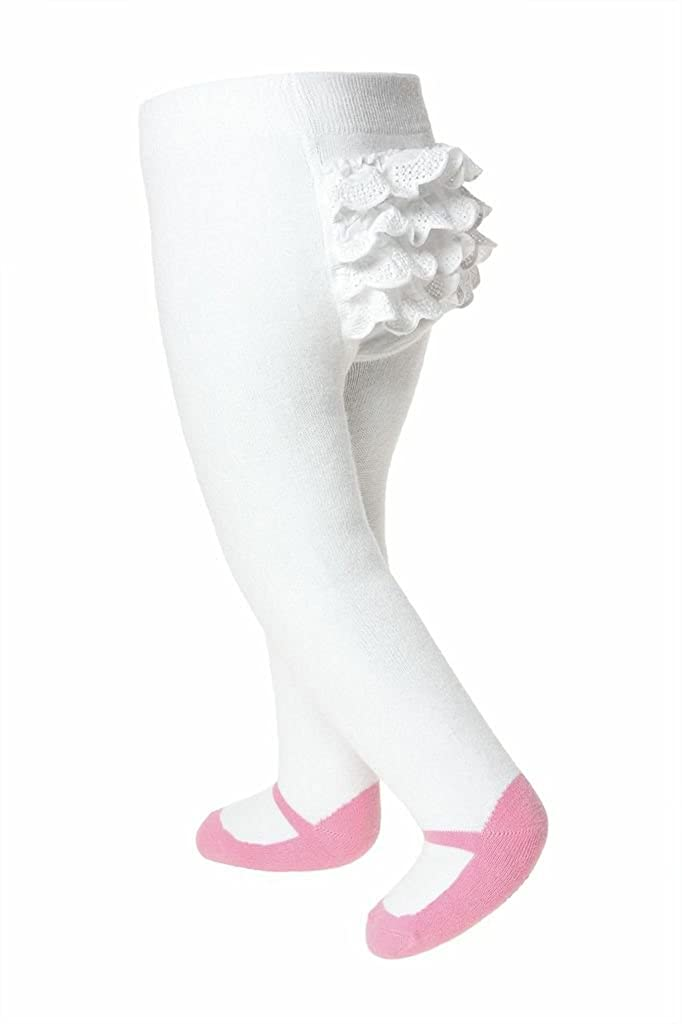 Baby Emporio-Ruffled Mary Jane Baby Girl Tights-Shoe Look-Anti Slip-Cotton-Gift Pouch Ruffle Red)