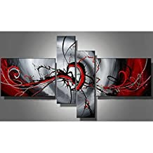Hand Painted Oil Painting Modern Black and Red Canvas Wall Art Decor,No Frame, 4pcs/set