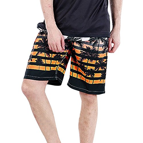 Price comparison product image Forthery Mens Shorts Summer Beach Swim Trunks Quick Dry Board Shorts with Pocket (US 5XL = Asia 6XL,  Orange)