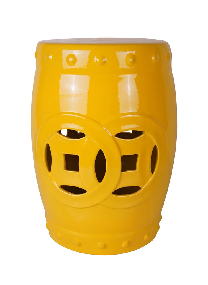 Sagebrook Home 13439-03 Ceramic Garden Stool, 14'' x 13'' x 17'', Yellow